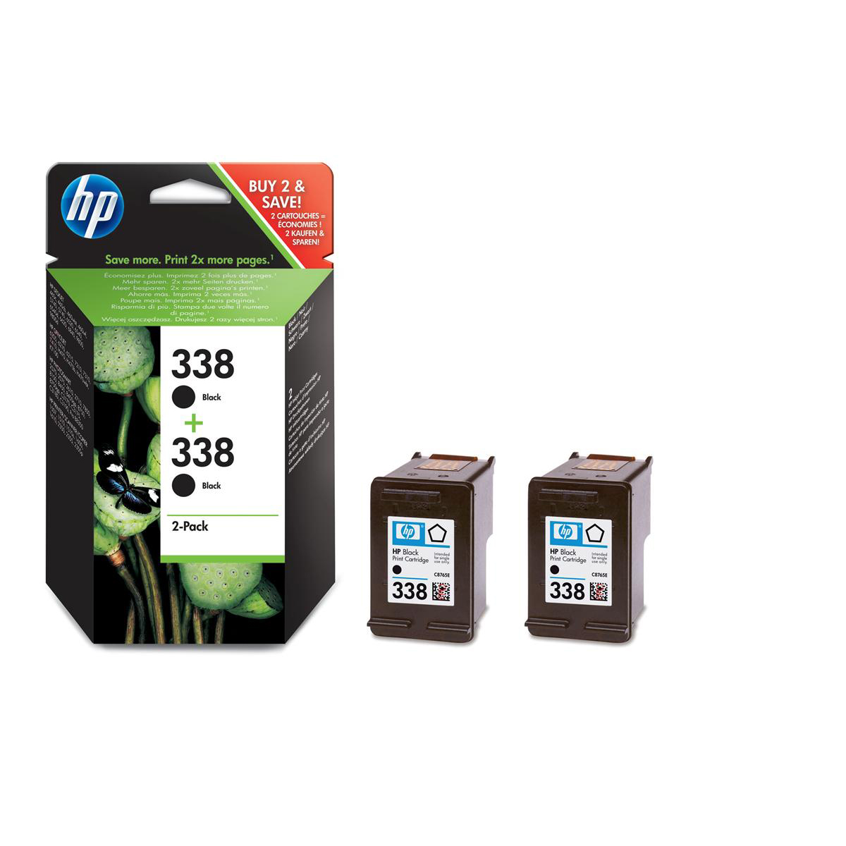 Hewlett Packard HP No.338 Inkjet Cartridge Page Life 480pp 11ml Black Ref CB331EE Pack 2