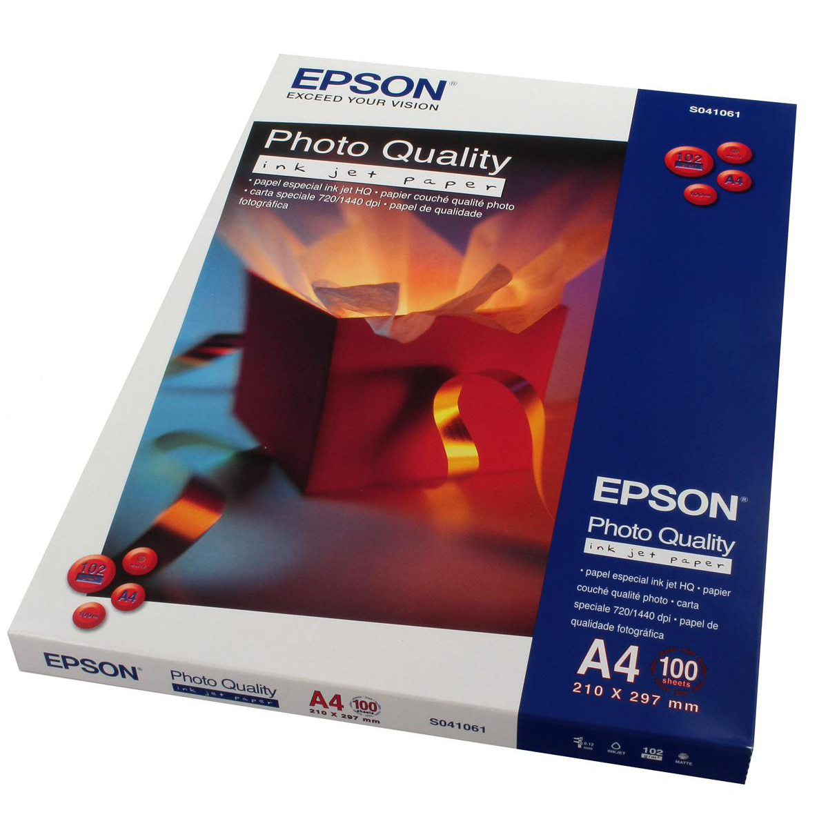 Photo Paper Epson Photo Quality Inkjet Paper Matt 102gsm Max.1440dpi A4 White Ref C13S041061 100 Sheets