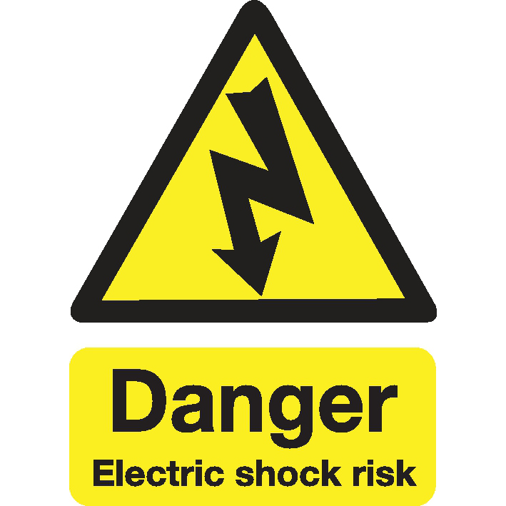 Stewart Superior Safety Sign Danger Shock Risk 200x150mm Self-adhesive Vinyl Ref KS002SAV