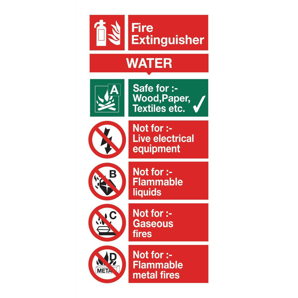 Fire Stewart Superior Water Fire Extinguisher Safety Sign W100xH200mm Self-adhesive Vinyl Ref FF091SAV
