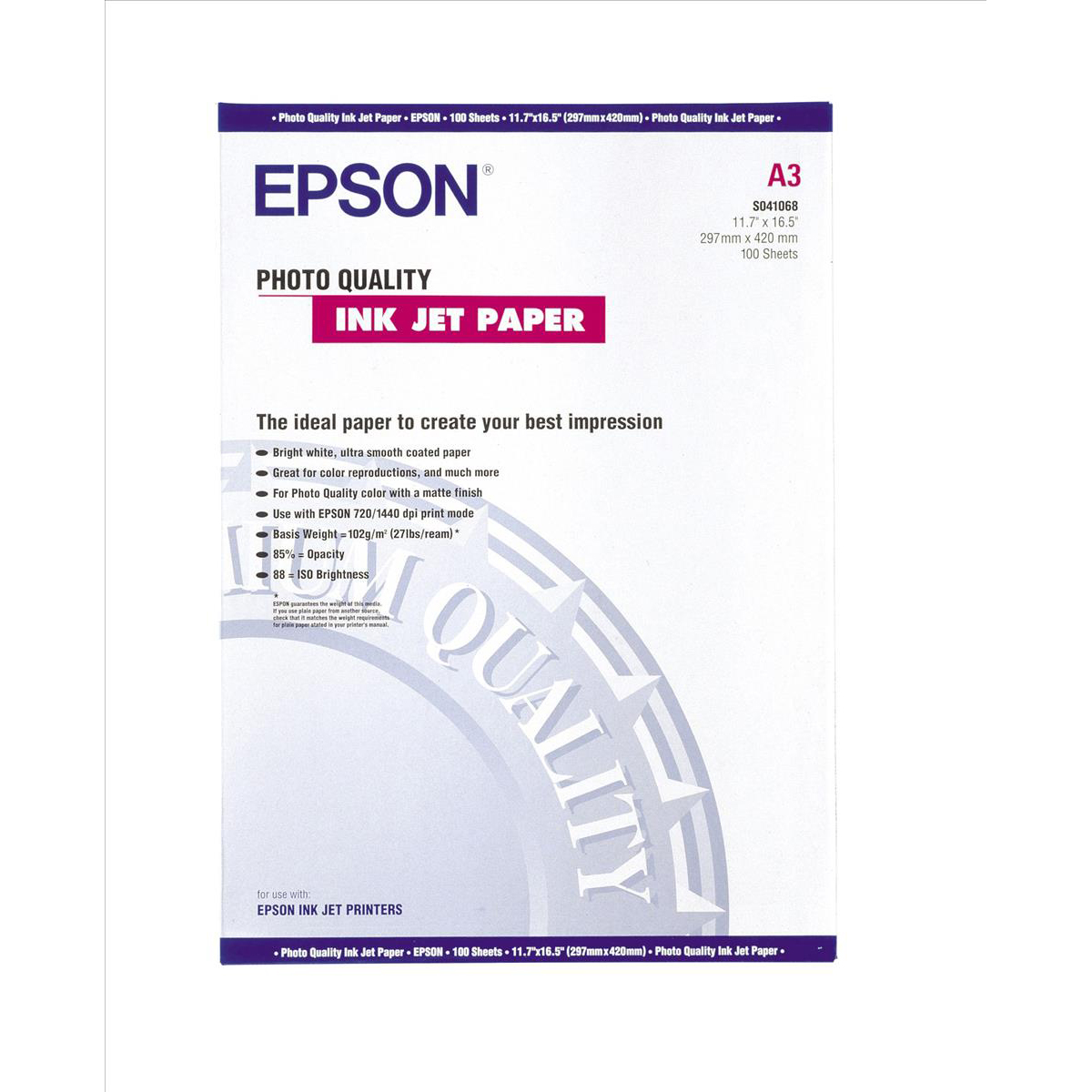 Epson Photo Quality Inkjet Paper Matt 102gsm Max.1440dpi A3 Ref C13S041068 100 Sheets