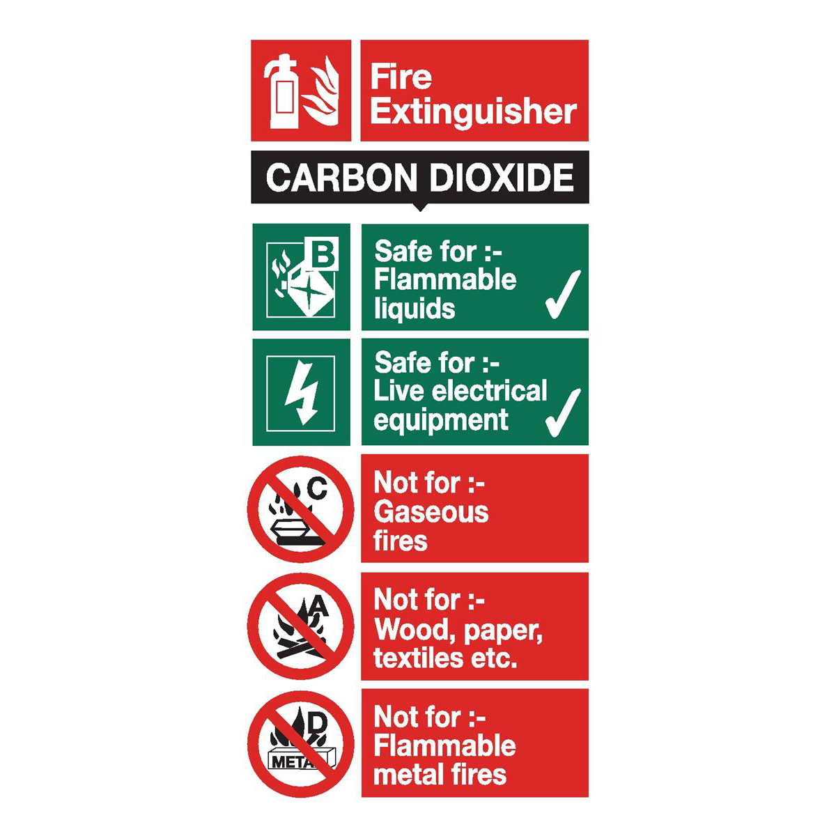 Fire Stewart Superior CO2 Fire Extinguisher Safety Sign W100xH200mm Self-adhesive Vinyl Ref FF093SAV