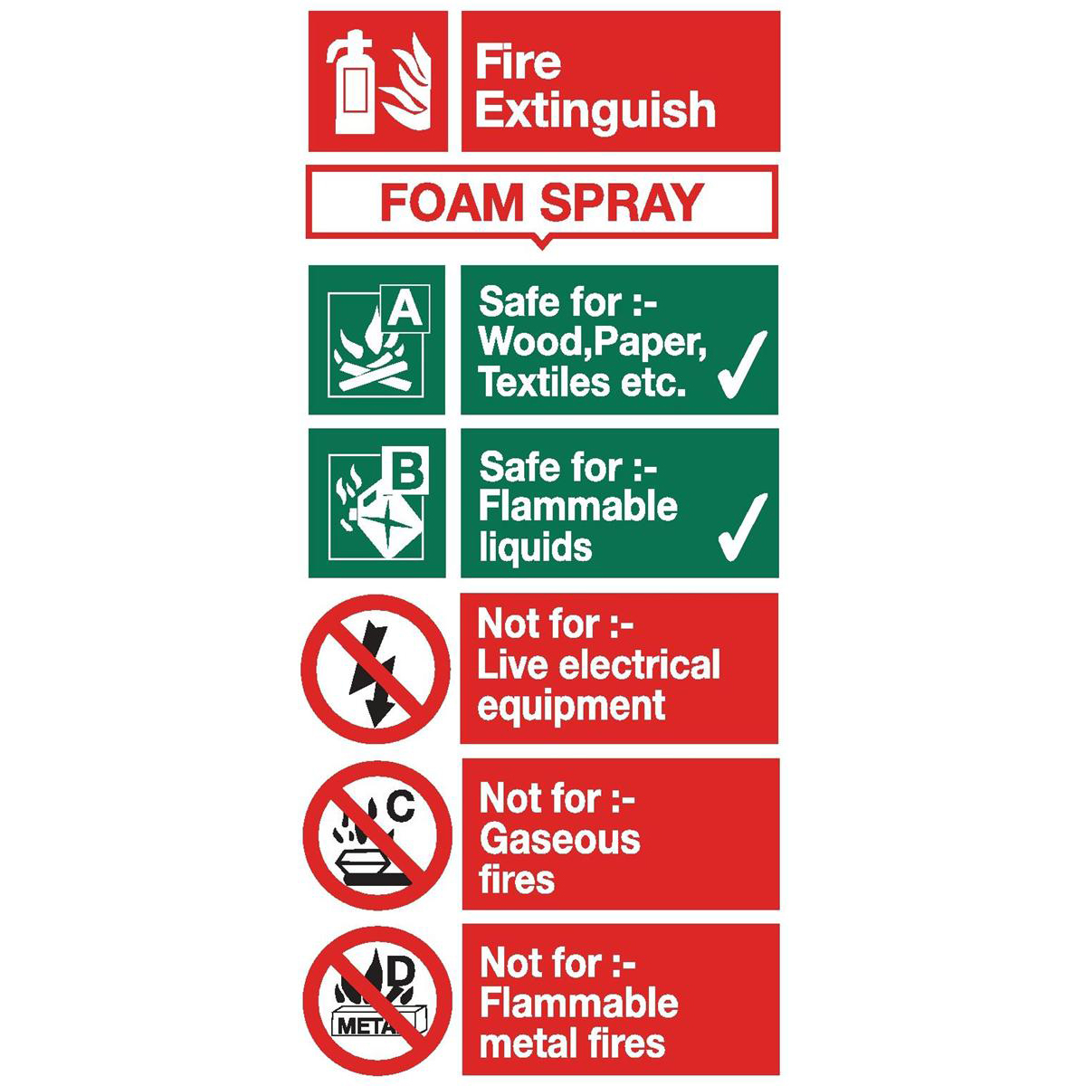 Stewart Superior Foam Spray Fire Extinguisher Safety Sign W100xH200mm Self-adhesive Vinyl Ref FF094SAV