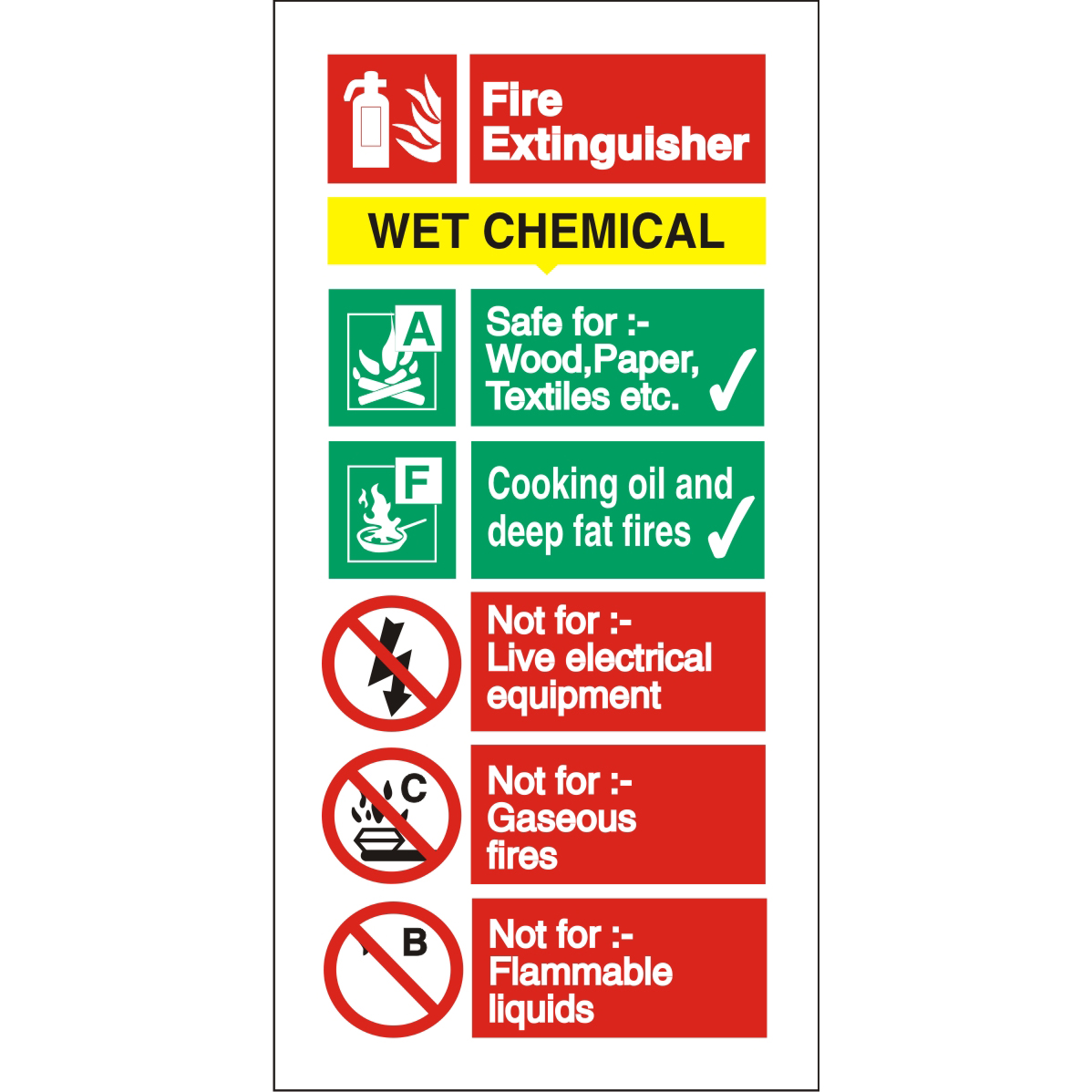 Stewart Superior Wet Chemical Fire Extinguisher Safety Sign W100xH200mm Self-adhesive Vinyl Ref FF100SAV