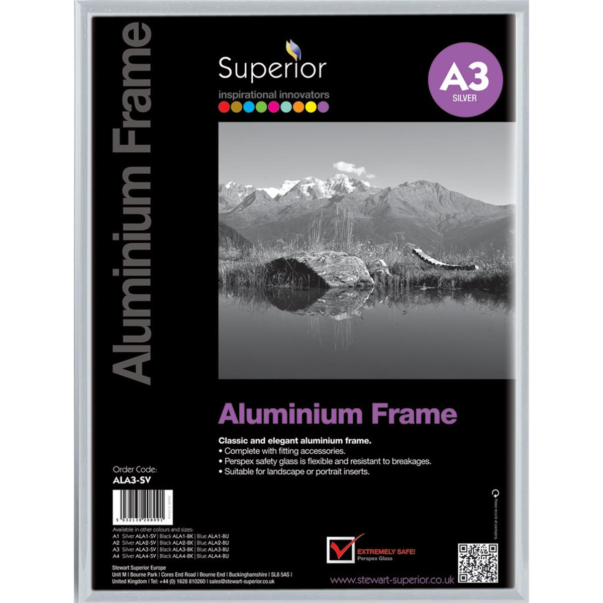 Photo Frame Clip-down Aluminium with Non-glass Perspex Front Back-loading A3 307x21x430mm Silver