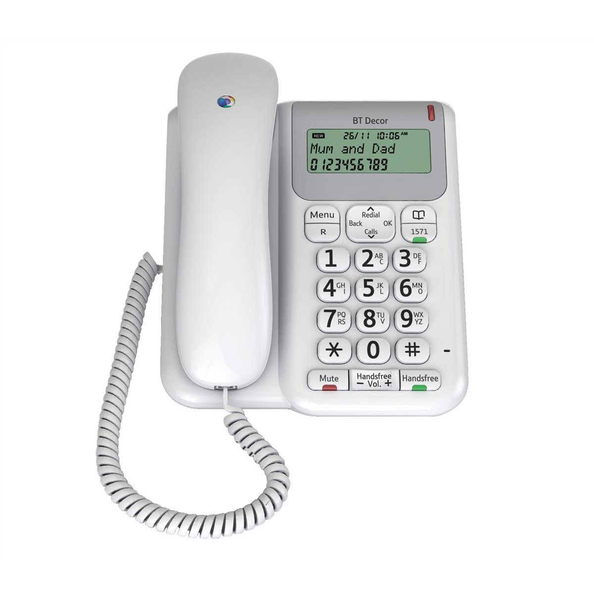 Phone handsets BT Decor 2200 Telephone 3-line LCD 50-entry Phonebook 30 Caller IDs Ref 061127