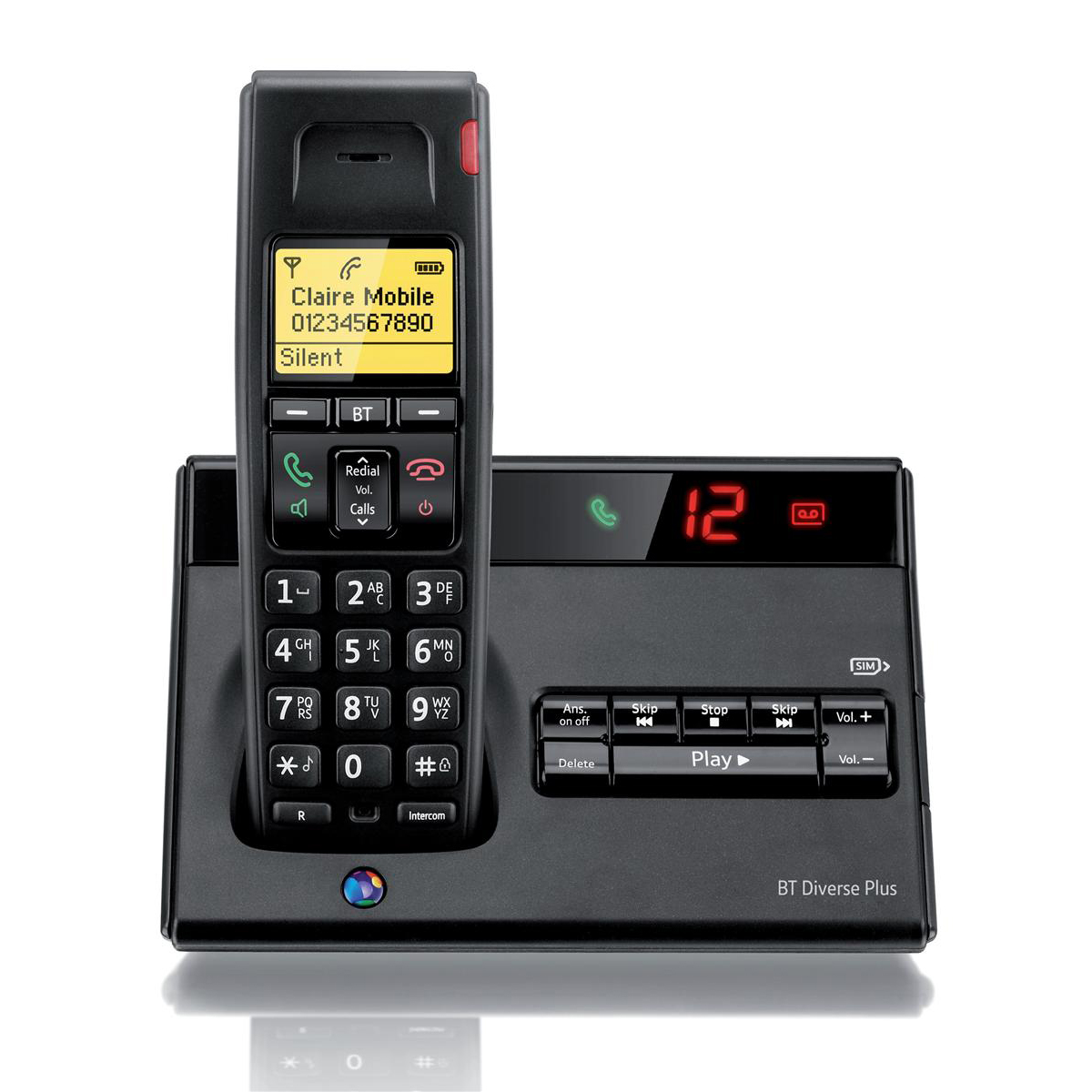 BT Diverse 7150 Plus DECT Telephone Cordless SMS TAM 27min 10 Redials Ref 060744