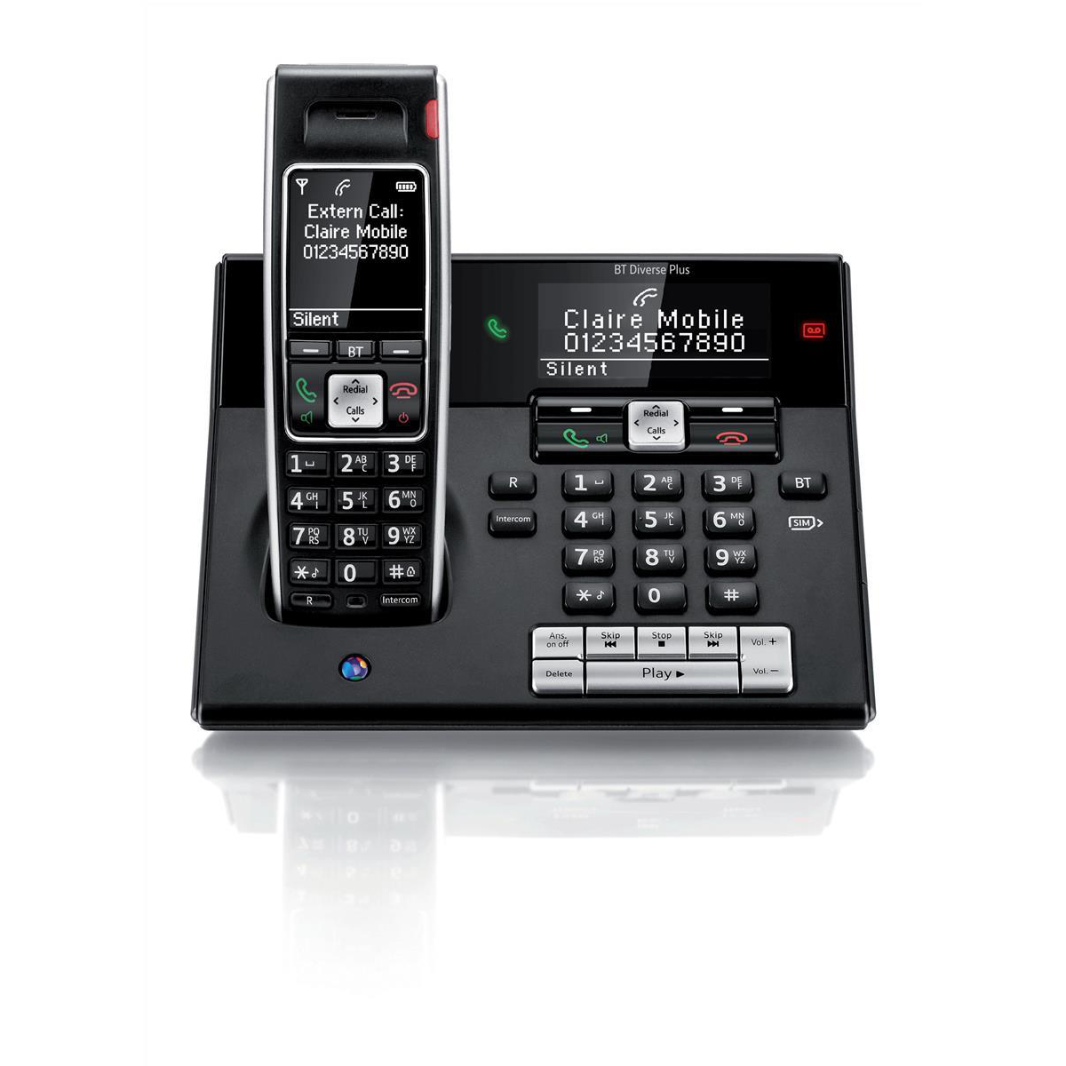 BT Diverse 7460 Plus DECT Telephone Cordless SMS SIM Read/Write TAM 27min 200-entry Directory Ref 060747