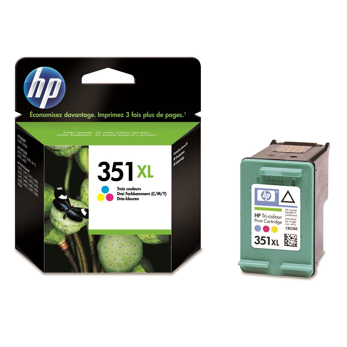 Hewlett Packard [HP] No.351XL Inkjet Cartridge High Yield Page Life 580pp 14ml Tri-Colour Ref CB338EE