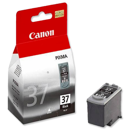 Inkjet Cartridges Canon PG-37 Inkjet Cartridge Page Life 220pp 11ml Black Ref 2145B001