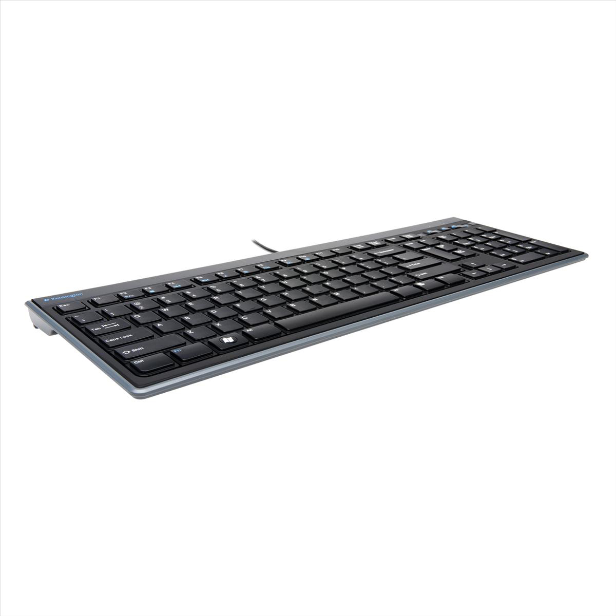 Kensington Advance Fit Slim type Keyboard Tilting USB Wired 1900mm Lead Ref K72357UK
