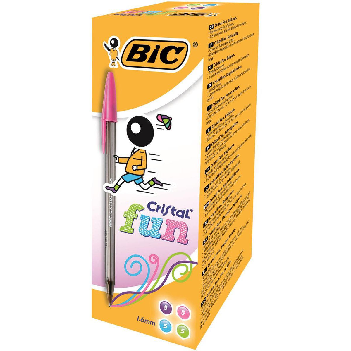 Bic Cristal Fun Ball Pen Large 1.6mm Tip 0.42mm Line Assorted Ref 895793 [Pack 20]
