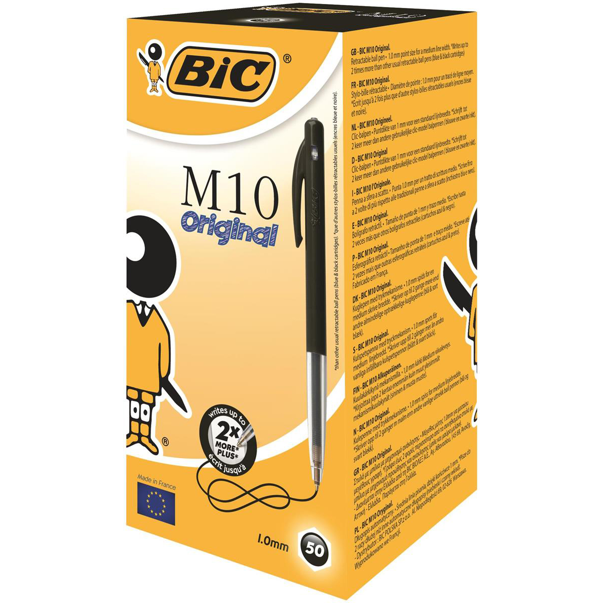 Bic M10 Clic Ball Pen Retractable 1.0mm Tip 0.32mm Line Black Ref 1199190125 Pack 50