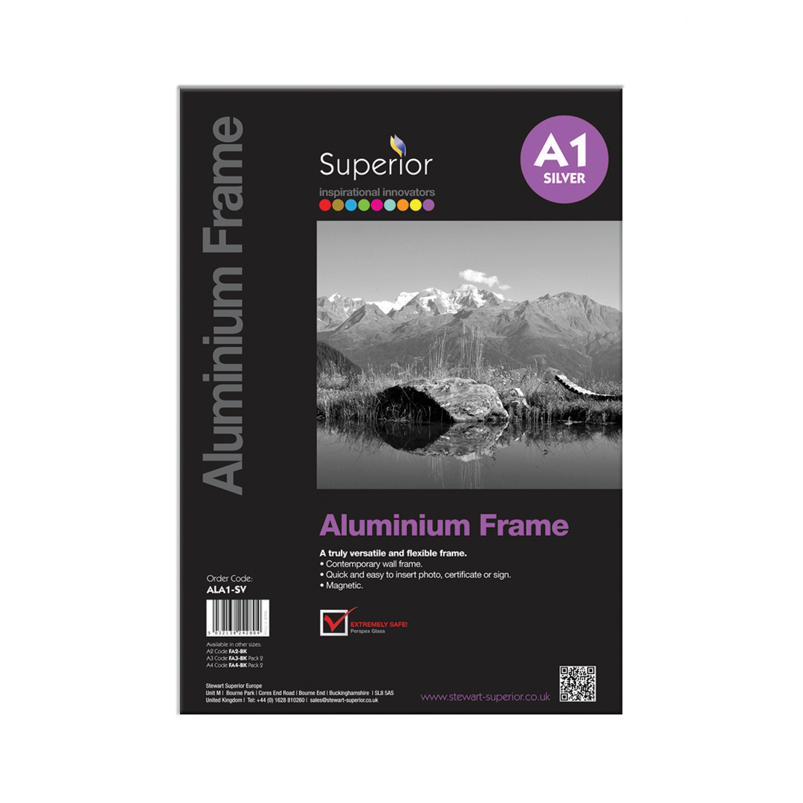 Photo Frame Clip-down Aluminium with Non-glass Perspex Front Back-loading A1 600x21x850mm Silver