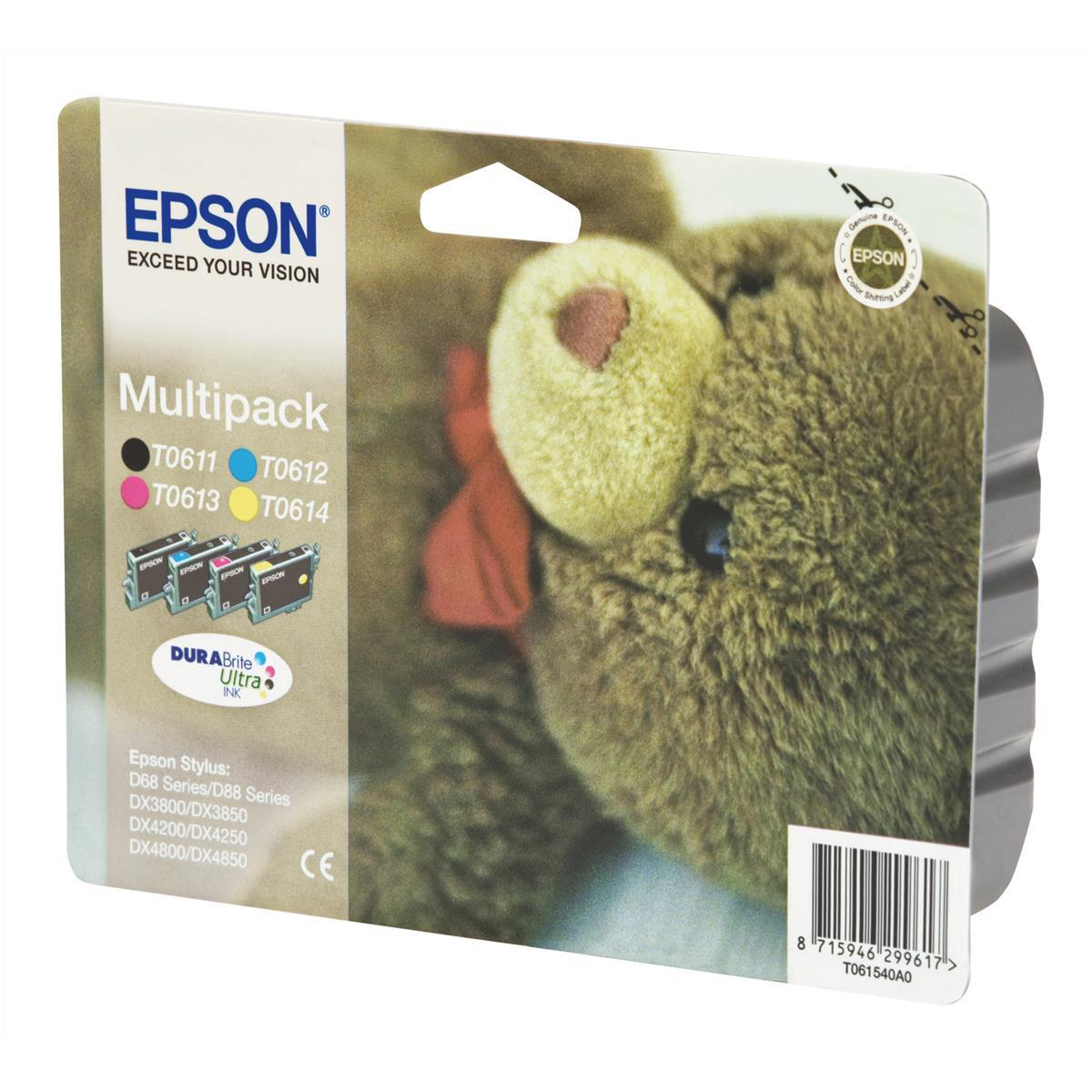 Epson T0615 Inkjet Cart Teddybear Page Life Black/Cyan/Magenta/Yellow 250pp 8ml Ref C13T06154010 [Pack 4]