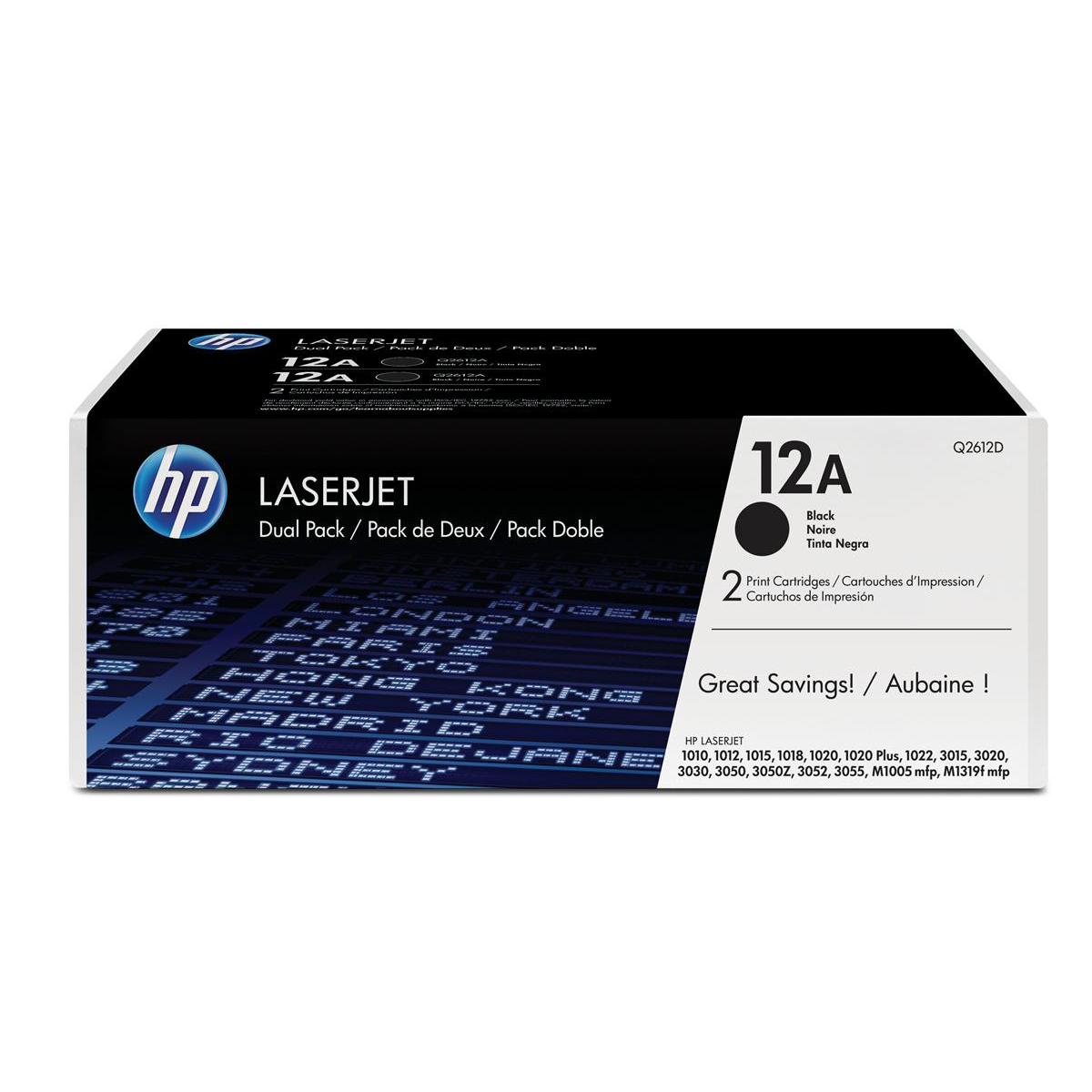 HP 12A Laser Toner Cartridge Page Life 2000pp Black Ref Q2612AD Pack 2