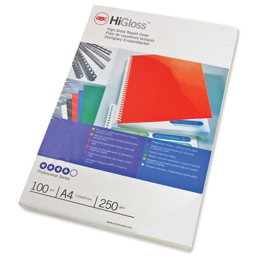 GBC Binding Covers Plain 250gsm A4 Gloss White Ref CE020071 Pack 50x2