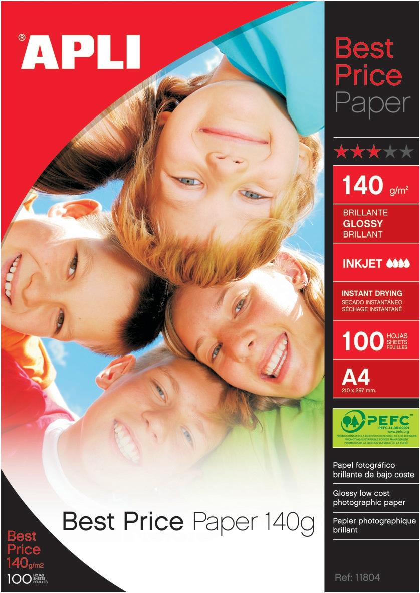 Image for Apli Best Price Photo Paper Glossy 140gsm A4 Ref 11804 [100 Sheets]