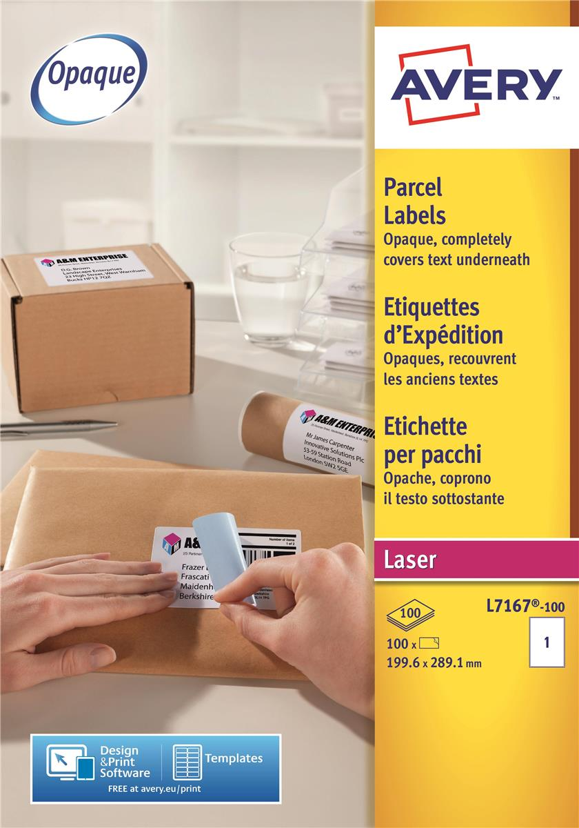 Image for Avery Addressing Labels Laser Jam-free 1 per Sheet 199.6x289.1mm White Ref L7167-100 [100 Labels]
