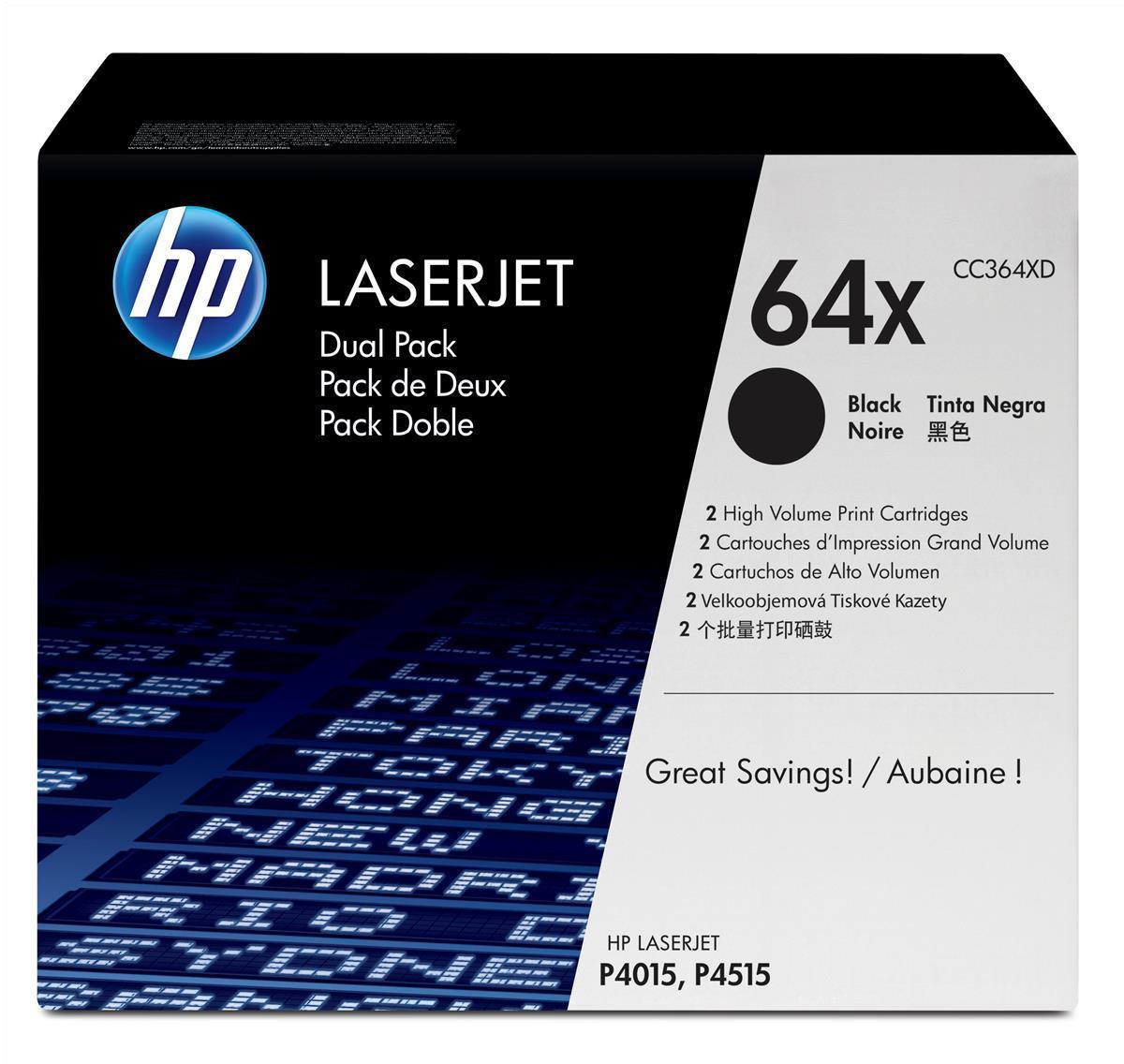 Hewlett Packard [HP] No. 64X Laser Toner Cartridge High Yield Page Life 48000pp Black Ref CC364XD[Pack 2]