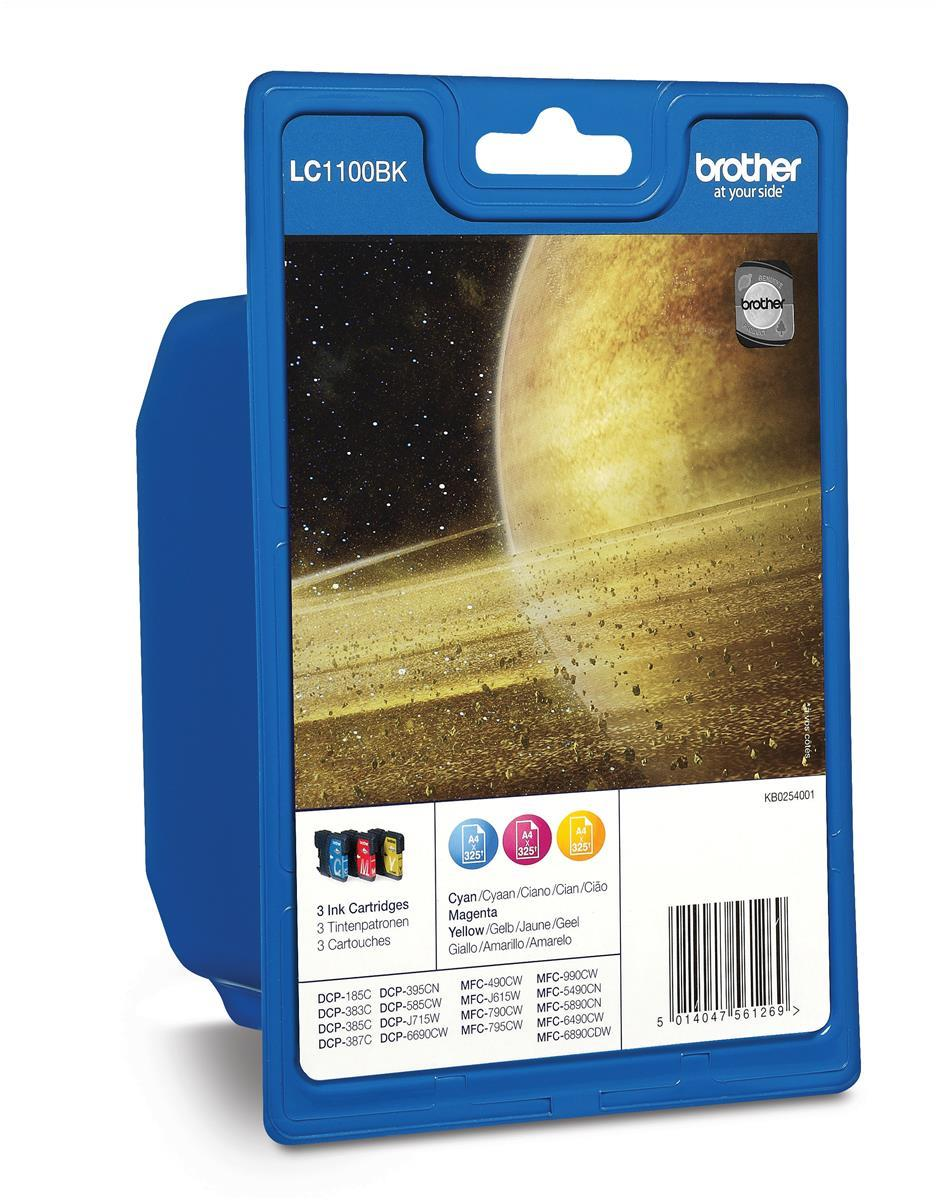 Brother Inkjet Cartridge Page Life 325pp Cyan/Magenta/Yellow Ref LC1100RBWBP [Pack 3]