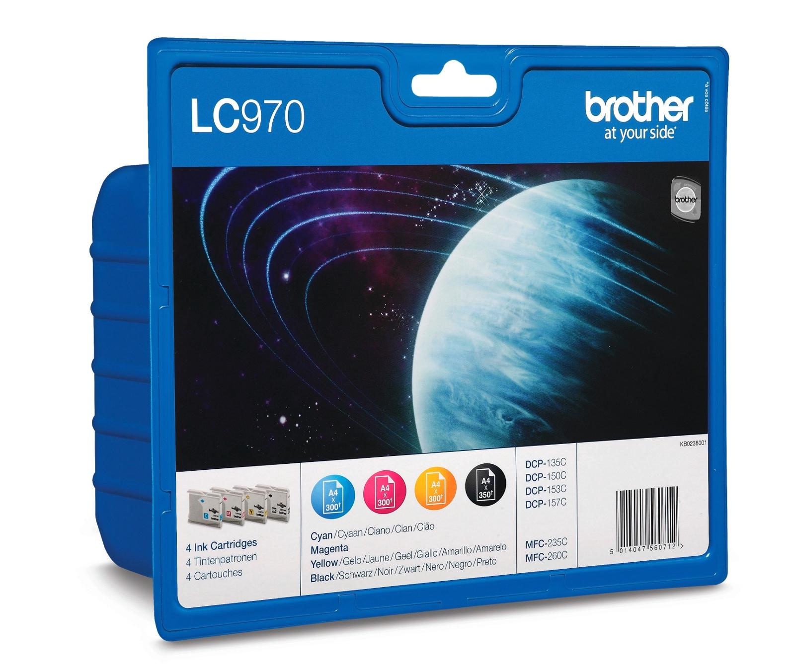 Brother Inkjet Cartridge Value Pack Page Life 1250pp Black/Cyan/Magenta/Yellow Ref LC970VALBP [Pack 4]