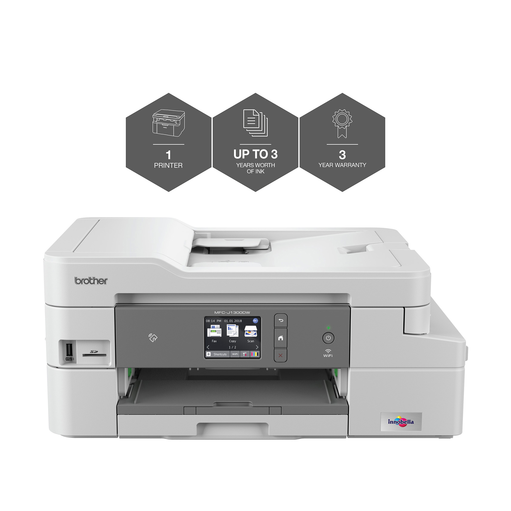 Multi function printers Brother MFCJ1300DW All-in-Box Inkjet Printer Ref MFCJ1300DWZU1