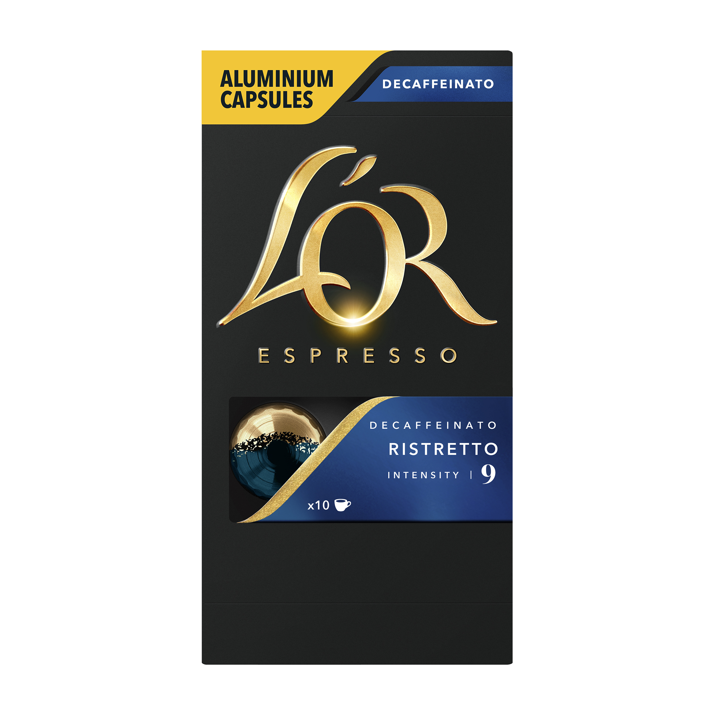 Coffee Lor Espresso Ristretto Decaffeinated Capsules for Lucente PRO Coffee Machine Ref 4028615 Pack 10