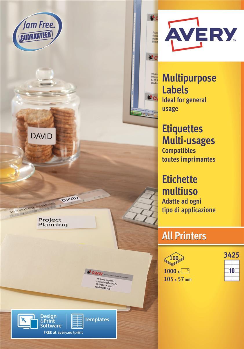 Avery White Copier Labels 10 per Sheet 105x57mm White Ref 3425 [1000 Labels]