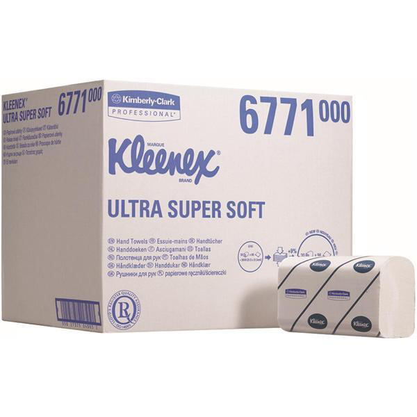 Kleenex Ultra Super Soft Hand Towels 3 Ply 315x215mm 96 Towels per Sleeve Ref 6771 Pack 30