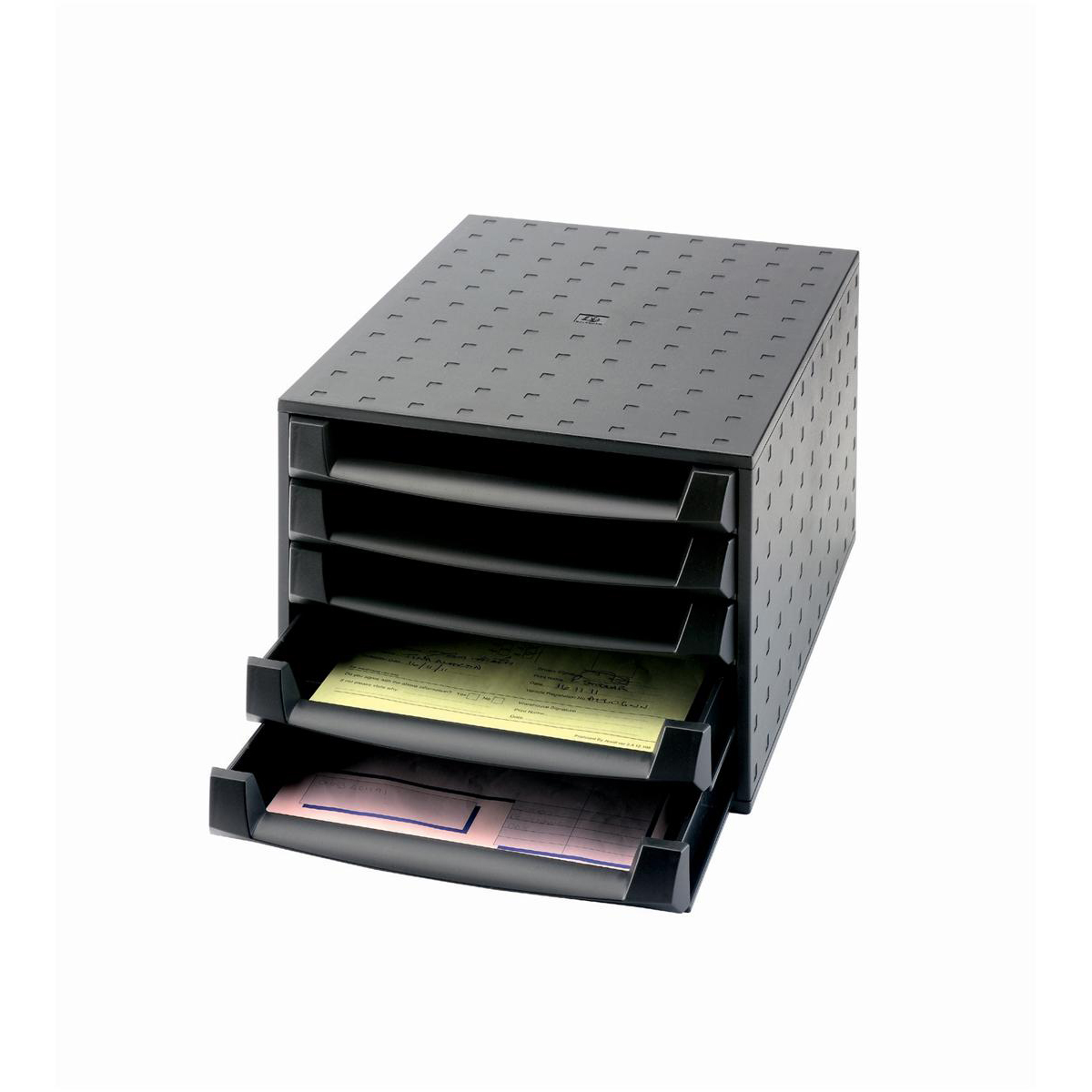 Exacompta Recycled Desktop Plastic 5 Drawer Set W347xD278xH271mm Black Ref 221014D