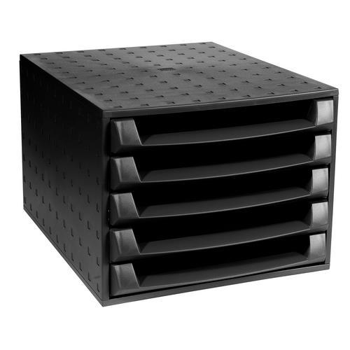 Exacompta Recycled Desktop Plastic 5 Drawer Set W347xD278xH271mm Black Ref 221014D