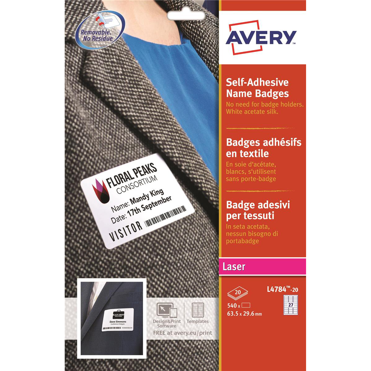 Avery Name Badge Labels Laser Self-adhesive 63.5x29.6mm White Ref L4784-20 540 Labels