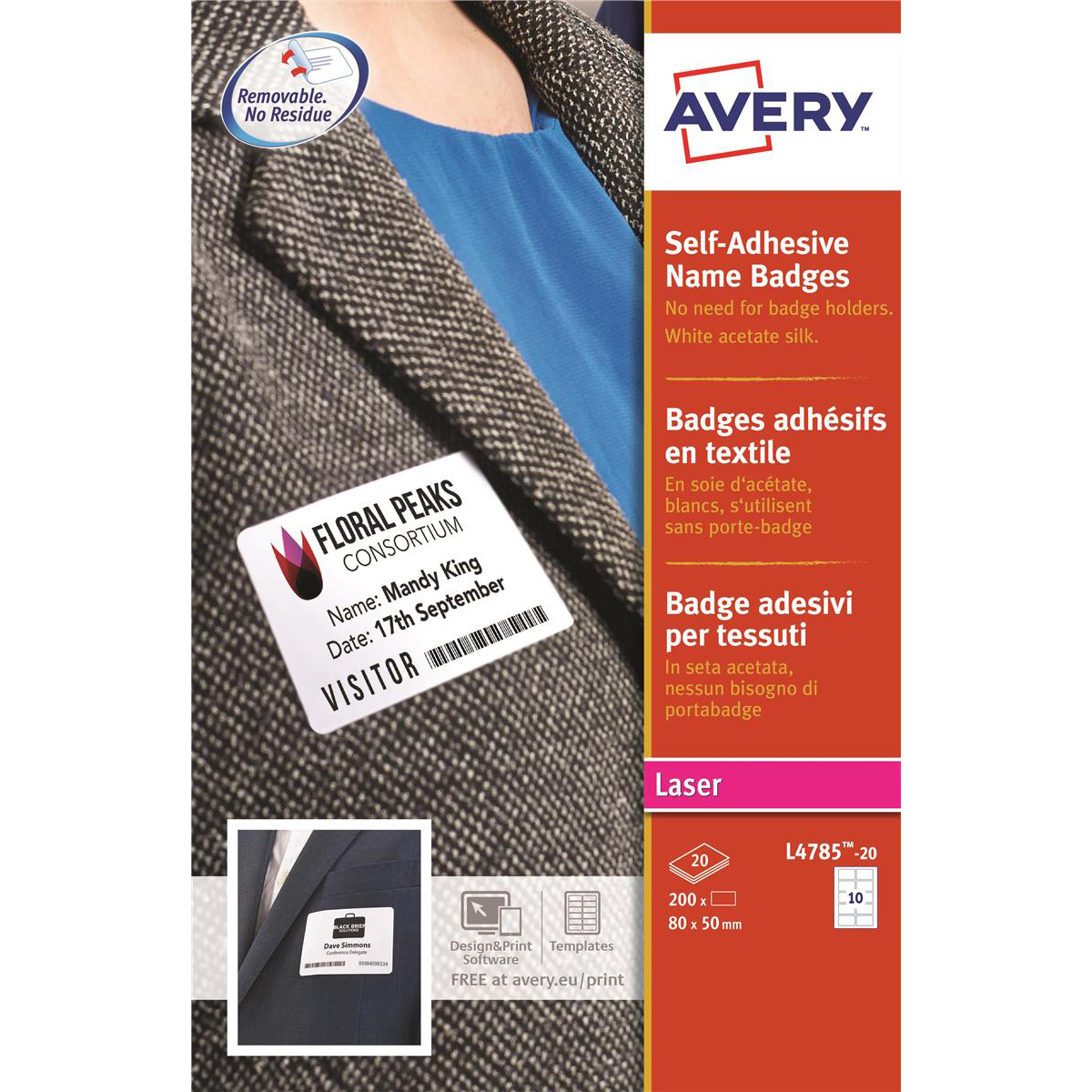 Badges or badge holders Avery Name Badge Labels Laser Self-adhesive 80x50mm White Ref L4785-20 200 Labels