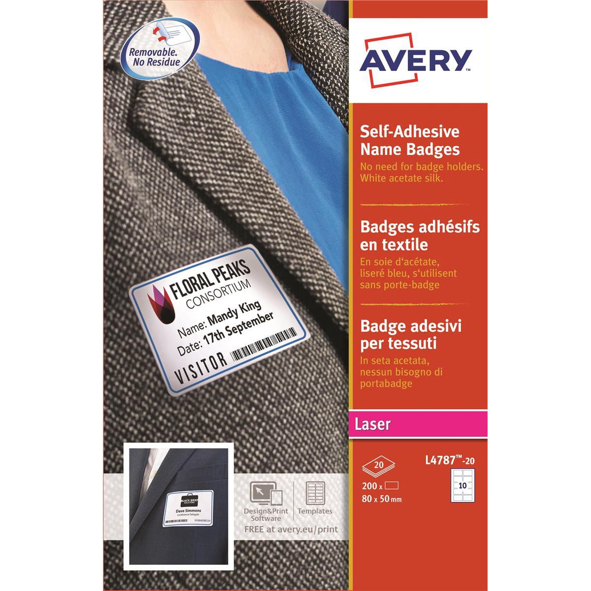ID Badges Avery Name Badge Labels Laser Self-adhesive 80x50mm Blue Border Ref L4787-20 200 Labels