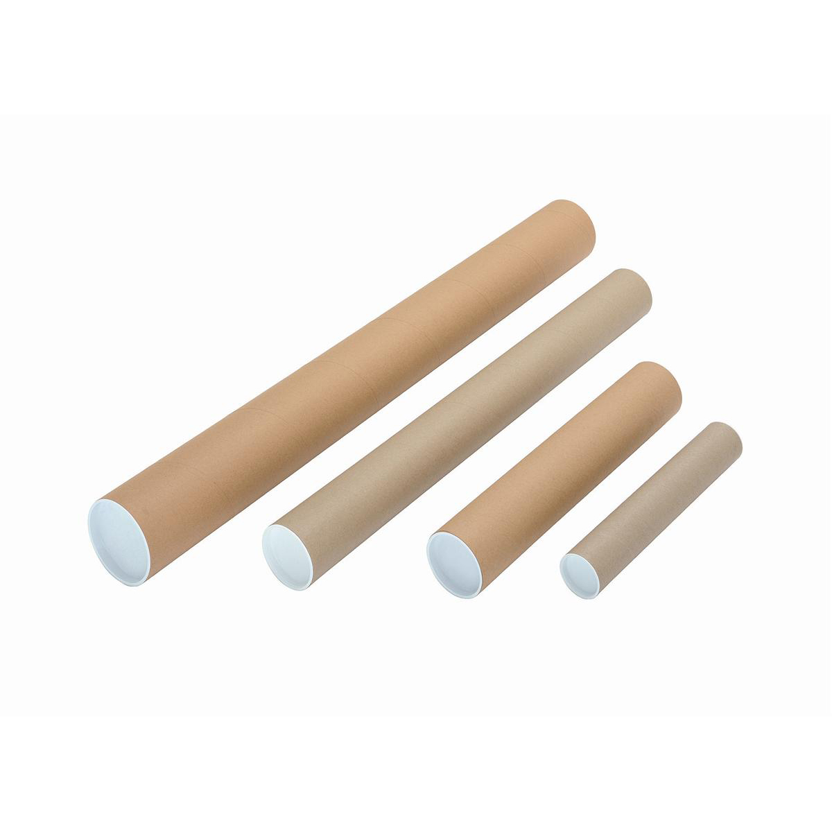 Postal Tube Cardboard with Plastic End Caps A4-A3 L330xDia.50mm [Pack 25]
