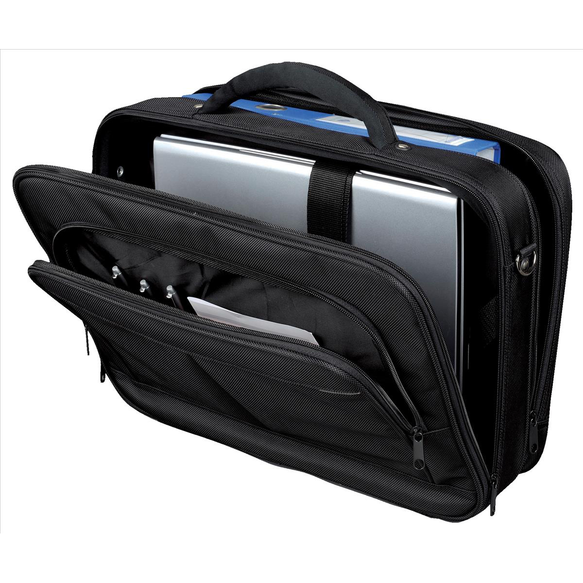 Lightpak Executive Laptop Bag Padded Multi-section Nylon Capacity 17in Black Ref 46029