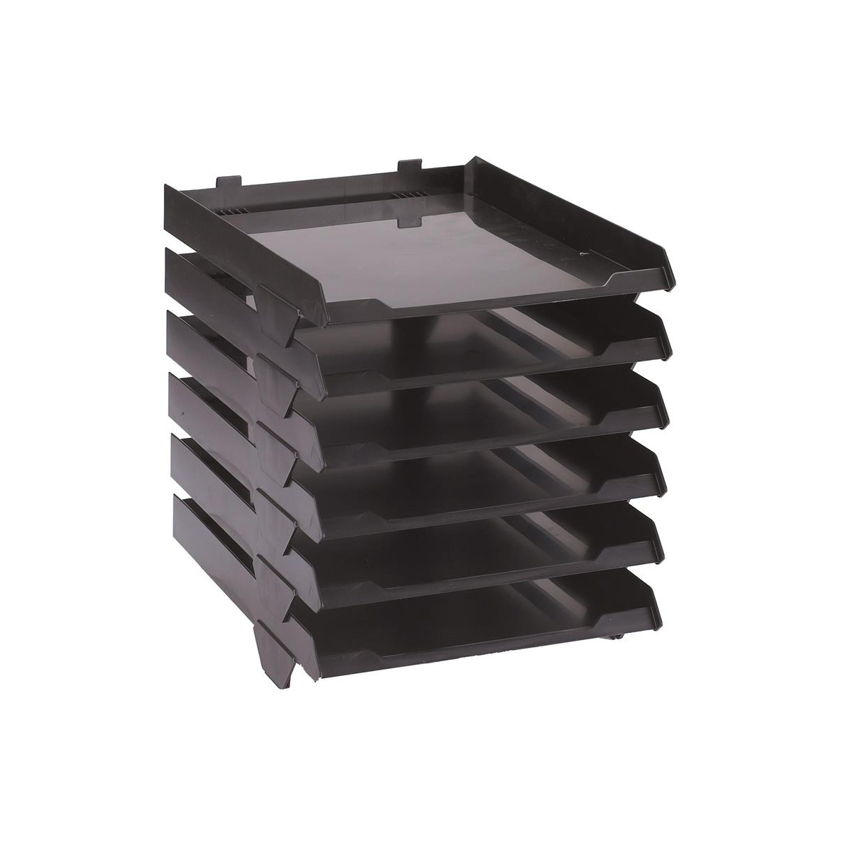 Avery Paperstack Letter Tray Self-stacking A4 W250xD320xH300mm Black Ref 5336BLK Pack 6