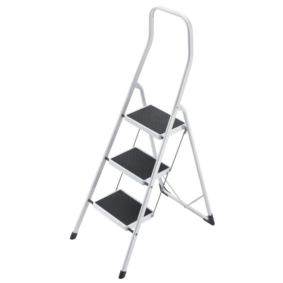 Step stool 5 Star Facilities Safety Steps Folding Safety Rail H0.5m 3 Treads Capacity 150kg H2.49m 6.6kg