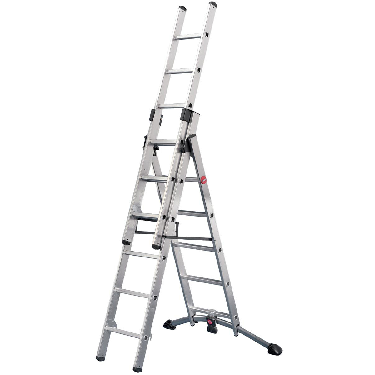 Steps Combi Ladder 3 Section Capacity 150kg Rungs 2x6 and 1x5 for H4.8m 15.5kg Aluminium