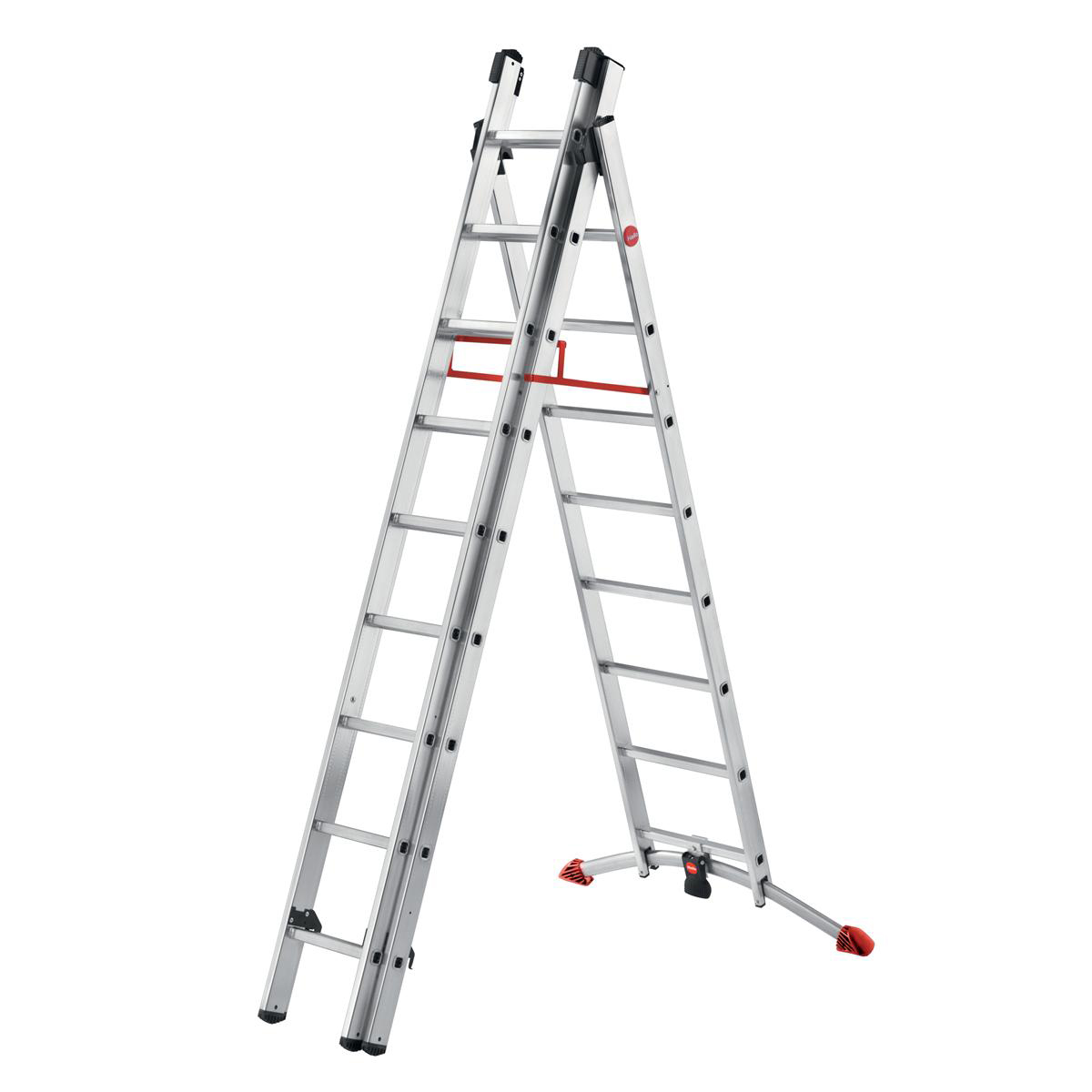 Ladders Combi Ladder 3 Section Capacity 150kg Rungs 2x9 and 1x8 for H6.7m 21.7kg Aluminium
