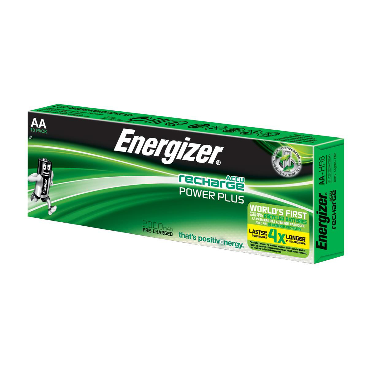 AA Energizer Battery Rechargeable NiMH Capacity 2000mAh HR6 1.2V AA Ref E300626800 Pack 10