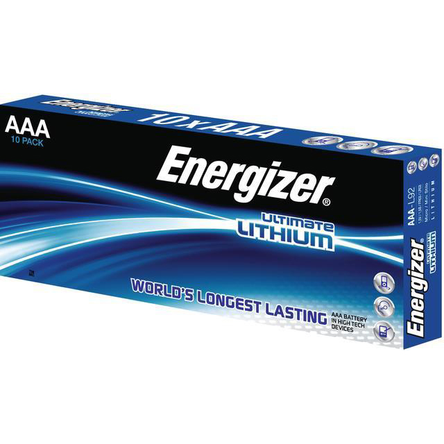 AAA Energizer Ultimate Battery Lithium L92 1.5V AAA Ref 639754 Pack 10