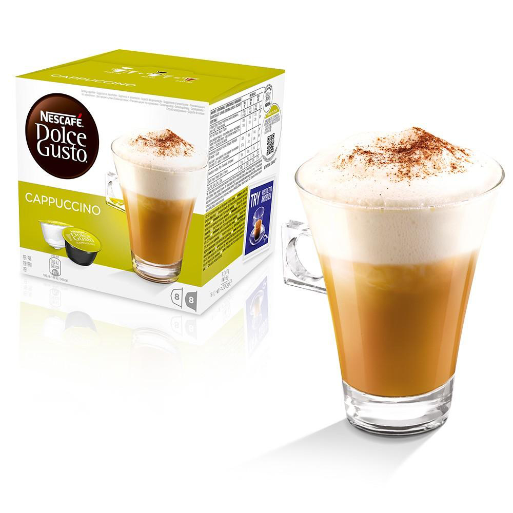 Coffee Nescafe Cappuccino Capsules for Dolce Gusto Machine Ref 12019905 Packed 48 (3x16 Capsules=24 Drinks)