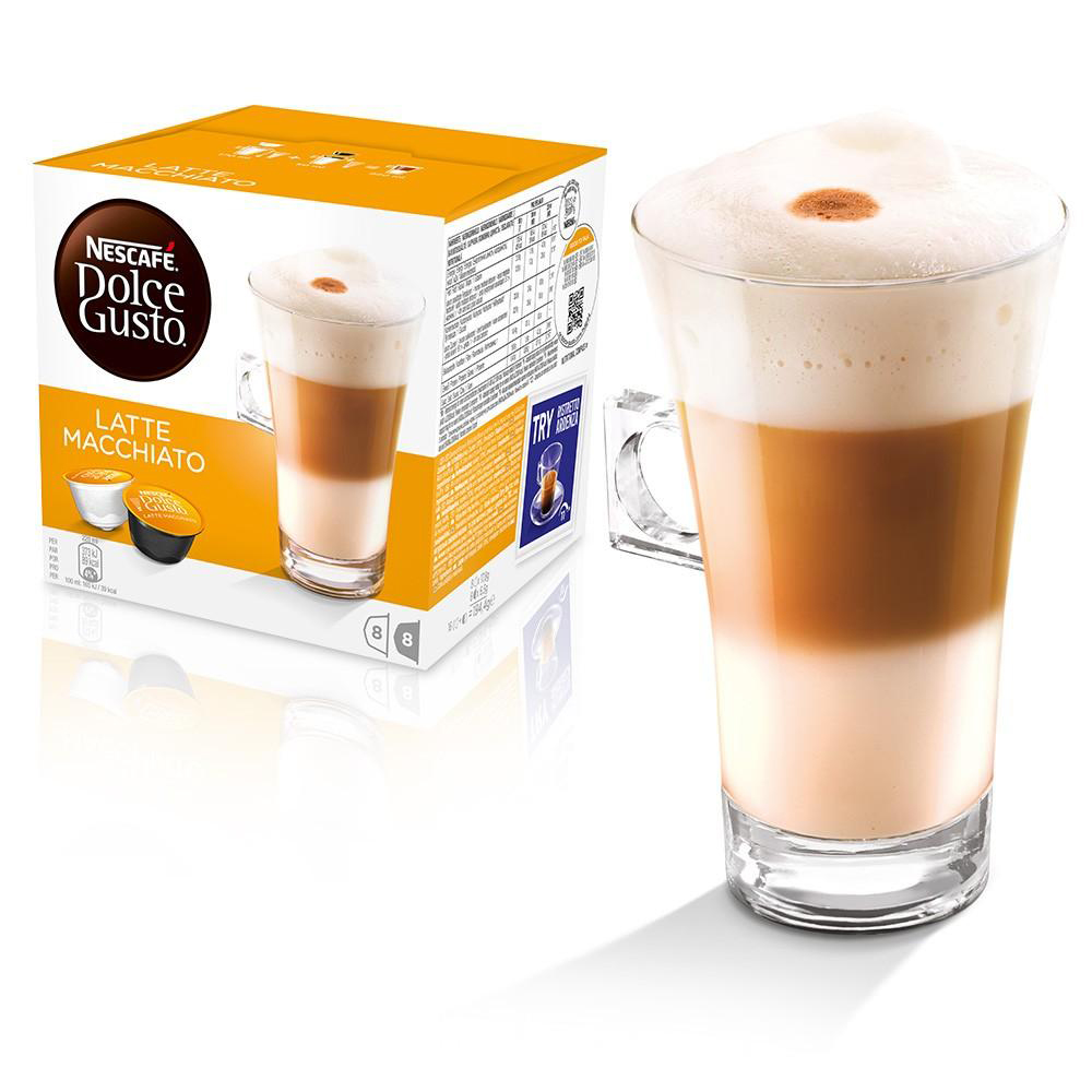 Coffee Nescafe Latte Macchiato Capsules for Dolce Gusto Machine Ref 12416323 Packed 48 (3x16 Capsules=24 Drinks)