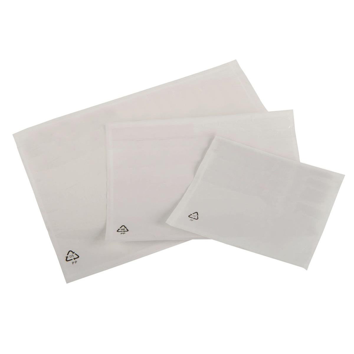 Packing List Document Wallet Polythene Waterproof Plain A5 225x165mm White Pack 1000