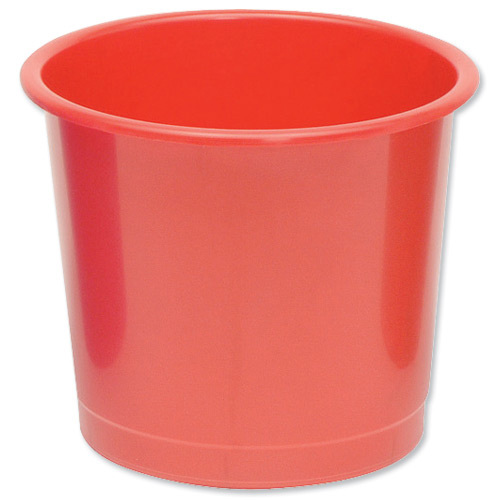 Rubbish Bins 5 Star Office Waste Bin Polypropylene 14 Litre Capacity 304x254mm Red