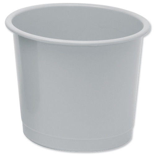 5 Star Office Waste Bin Polypropylene 14 Litre Capacity 304x254mm Grey