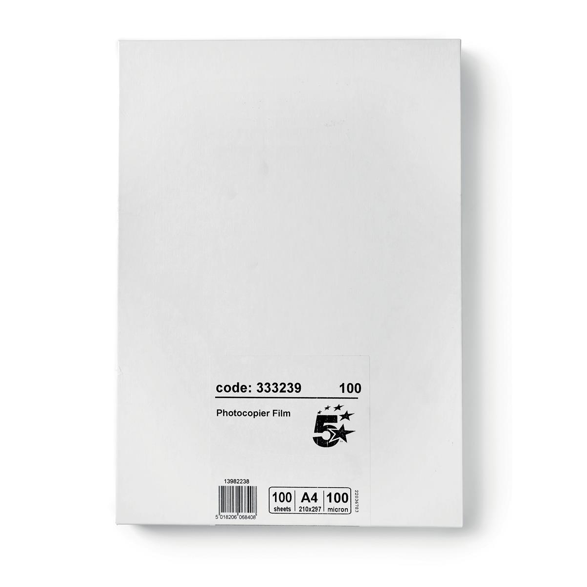 Image for 5 Star Office OHP Film Plain Copier Unbacked 100 Micron A4 Black on Clear [Pack 100]