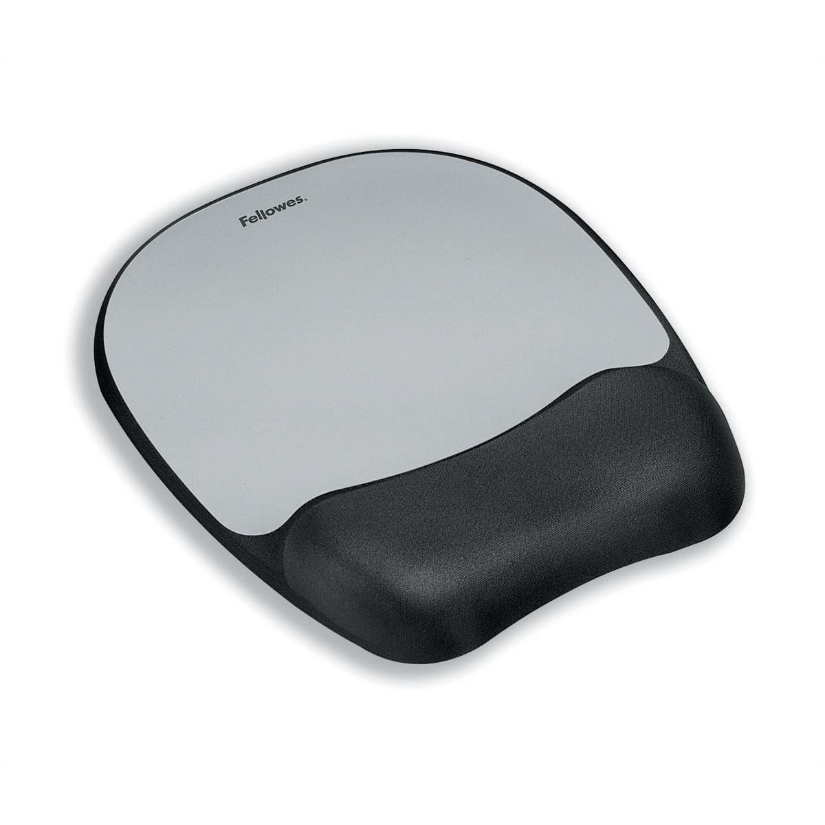 Wrist Rests Fellowes Mousepad Non-skid Memory Foam Silver Ref 917580